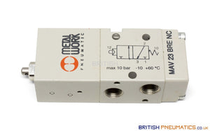 "Metal Work MAV 23 BRE NC Manual Valve (7010001800) 1/8"", 3/2 - British Pneumatics (Online Wholesale)"