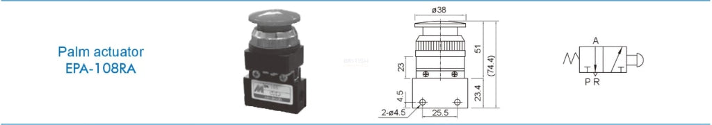 Mindman ACT-108 EPA-108RA Mechanical Valve - British Pneumatics