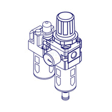 "Load image into Gallery viewer, Mindman MACP300L-10A-D Filter, Regulator, Lubricator (FRL) 3/8"" - British Pneumatics"