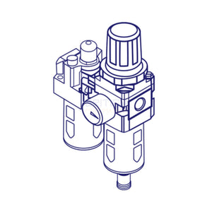 "Mindman MACP300L-10A-D Filter, Regulator, Lubricator (FRL) 3/8"" - British Pneumatics (Online Wholesale)"