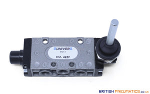 "Univer CM-423F Lever Mechanical Spool Valve (90 degrees, 1/8"", 3 positons) - British Pneumatics (Online Wholesale)"