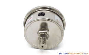 "Watson Stainless Steel 10 Bar Pressure Gauge (Back Entry) 1/4"" BSP - British Pneumatics (Online Wholesale)"