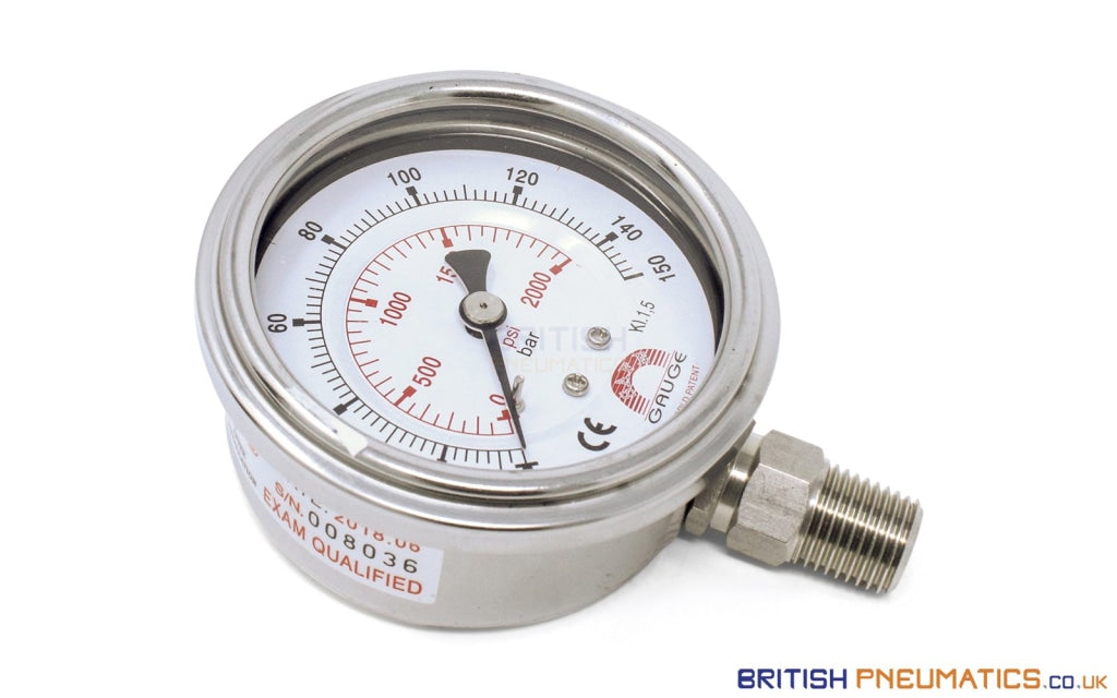 Watson Stainless Steel 150 Bar Pressure Gauge (Bottom Entry) 1/4