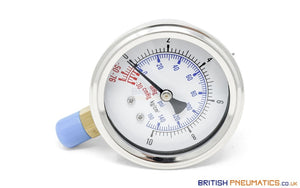 "Watson Stainless Steel 150PSI Vacuum Pressure Gauge (Bottom Entry) 1/4"" BSP - British Pneumatics (Online Wholesale)"
