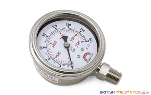 "Watson Stainless Steel 160 Bar Pressure Gauge (Bottom Entry) 1/4"" BSP - British Pneumatics (Online Wholesale)"