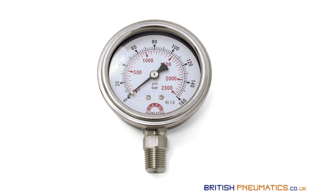 Watson Stainless Steel 160 Bar Pressure Gauge (Bottom Entry) 1/4