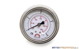 "Watson Stainless Steel 20 Bar Pressure Gauge (Back Entry) 1/4"" BSP - British Pneumatics (Online Wholesale)"