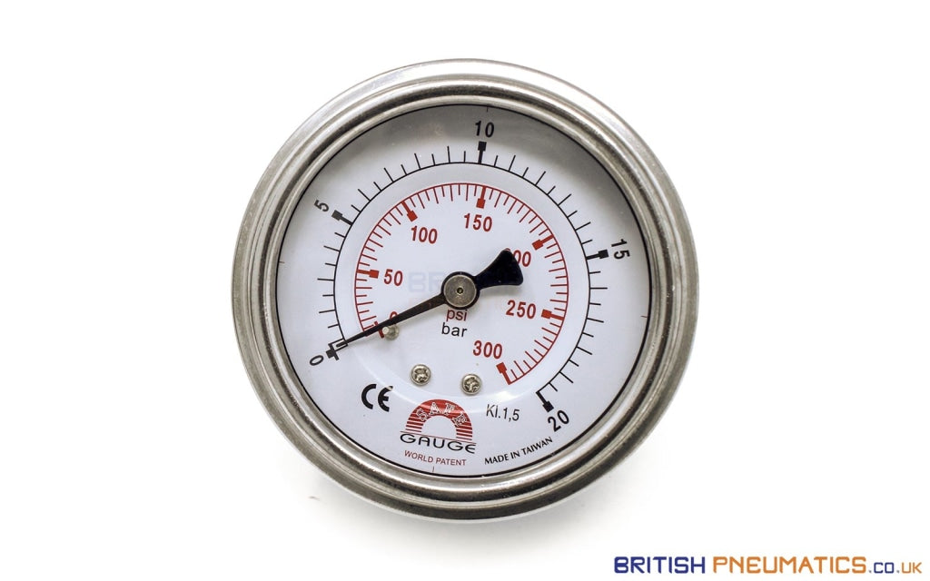 Watson Stainless Steel 20 Bar Pressure Gauge (Back Entry) 1/4