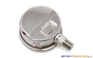 "Watson Stainless Steel 20 Bar Pressure Gauge (Bottom Entry) 1/4"" BSP - British Pneumatics (Online Wholesale)"