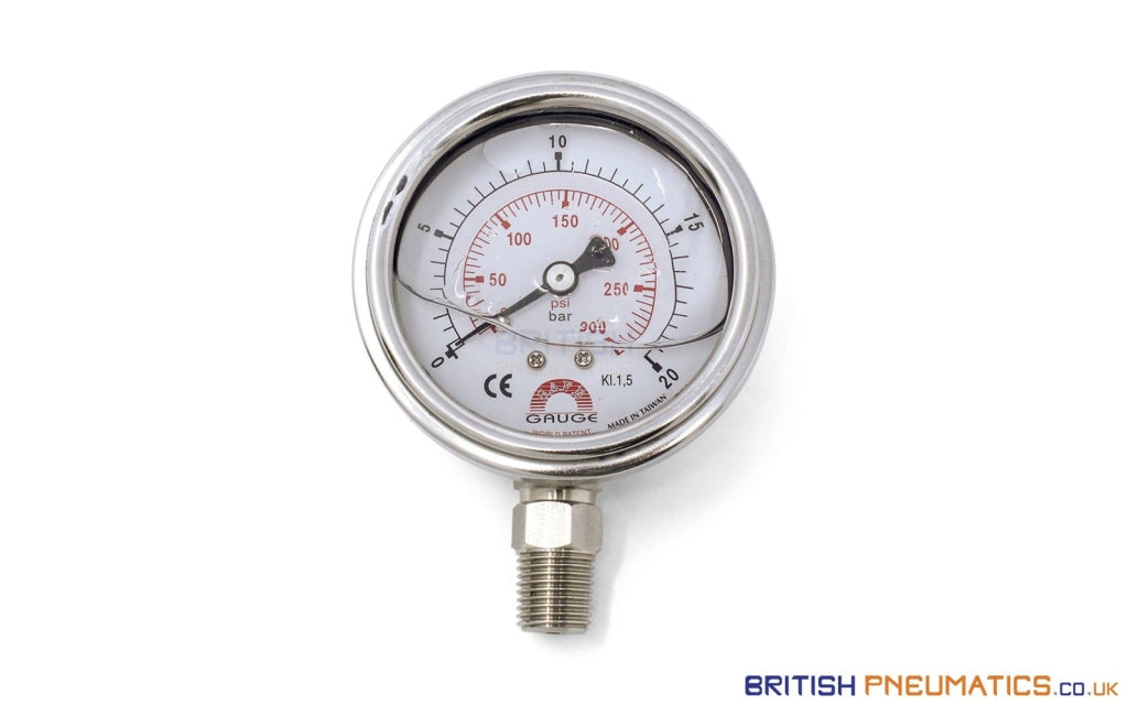 Watson Stainless Steel 20 Bar Pressure Gauge (Bottom Entry) 1/4
