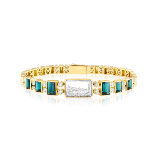 Green Tourmaline and Diamond Tennis Shaker Bracelet by Moritz Glik