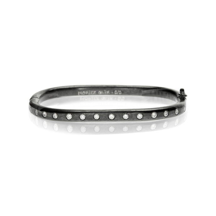Shakerless Blackened Silver Diamond Bangle
