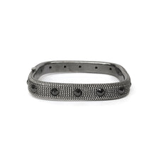 Load image into Gallery viewer, Men's Sterling Silver and Black Diamond Bangle