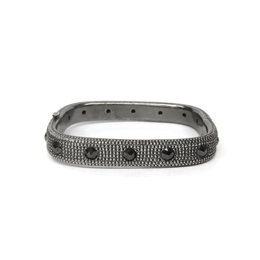 Men's Sterling Silver and Black Diamond Bangle