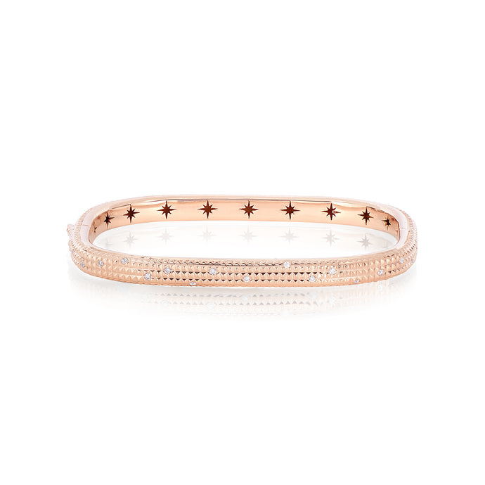 Shakerless Texturized Diamond Bangle
