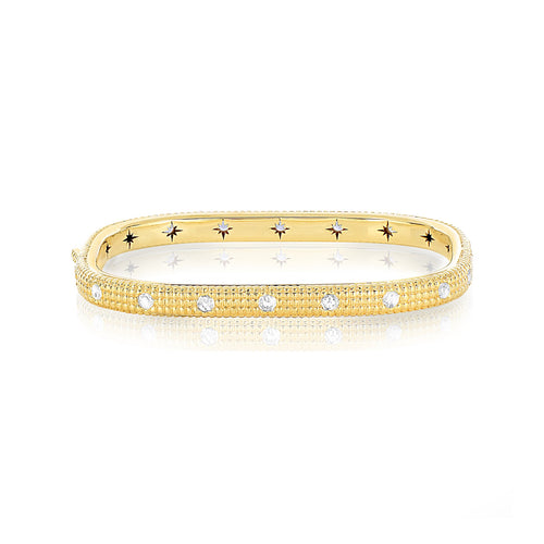 Shakerless Texturized Rose Cut Diamond Bangle