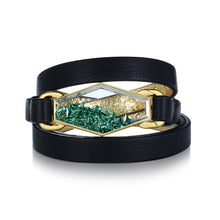 Load image into Gallery viewer, Emerald Shaker Leather Bracelet