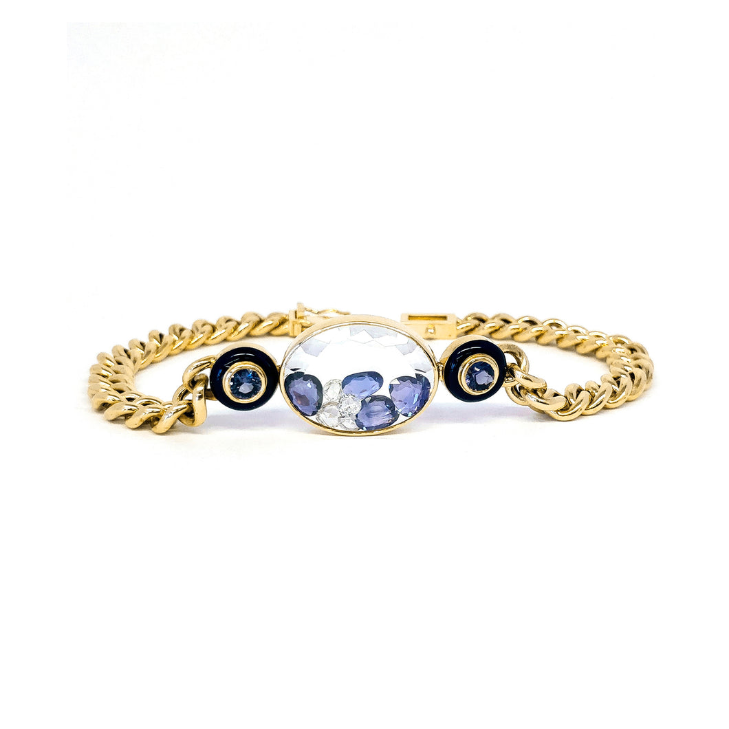 Blue Sapphire and Diamond Curb Chain Bracelet