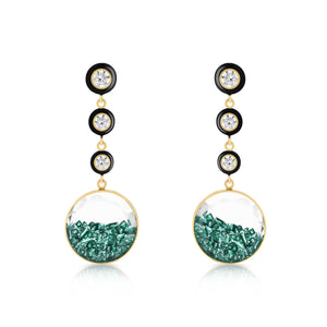 Diamond and Emerald Shaker Enamel Earrings