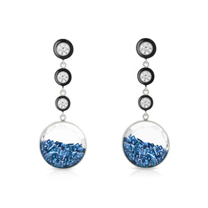 Diamond and Blue Sapphire Shaker Enamel Earrings