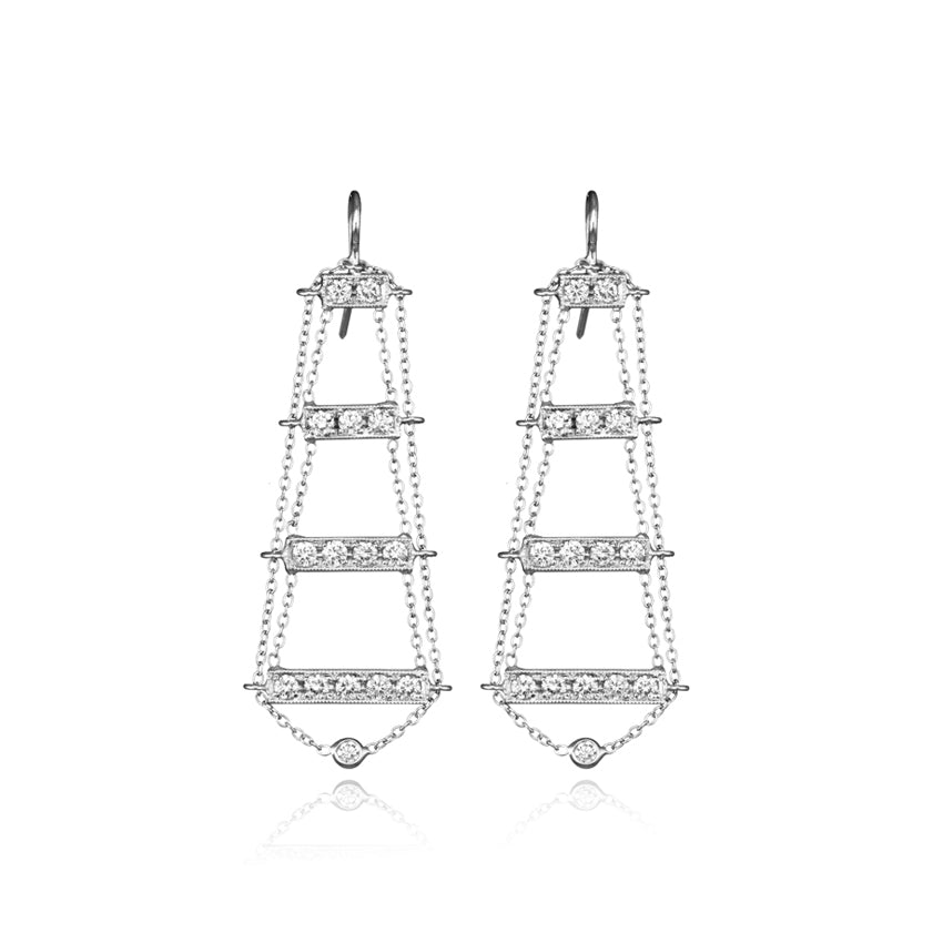 18k White Gold Ladder Earrings With Diamonds