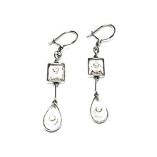 Load image into Gallery viewer, 18k Gold Earrings with Diamonds set in Quartz Crystal