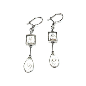 18k Gold Earrings with Diamonds set in Quartz Crystal