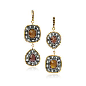 18k Gold and Sterling Earrings with Terracotta Diamonds
