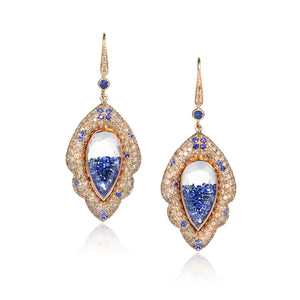 18k Rose Gold Earrings with Champagne Diamonds and Blue Sapphires