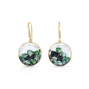 Mid Round Black Diamond and Chrome Tourmaline Shaker Earrings