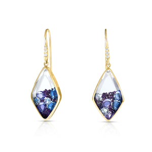 Purple Diamond Kite Earrings
