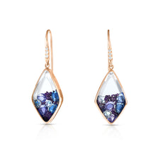 Load image into Gallery viewer, Kite Purple and White Diamond, Purple and Blue Sapphire Shaker Earrings