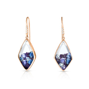 Kite Purple and White Diamond, Purple and Blue Sapphire Shaker Earrings