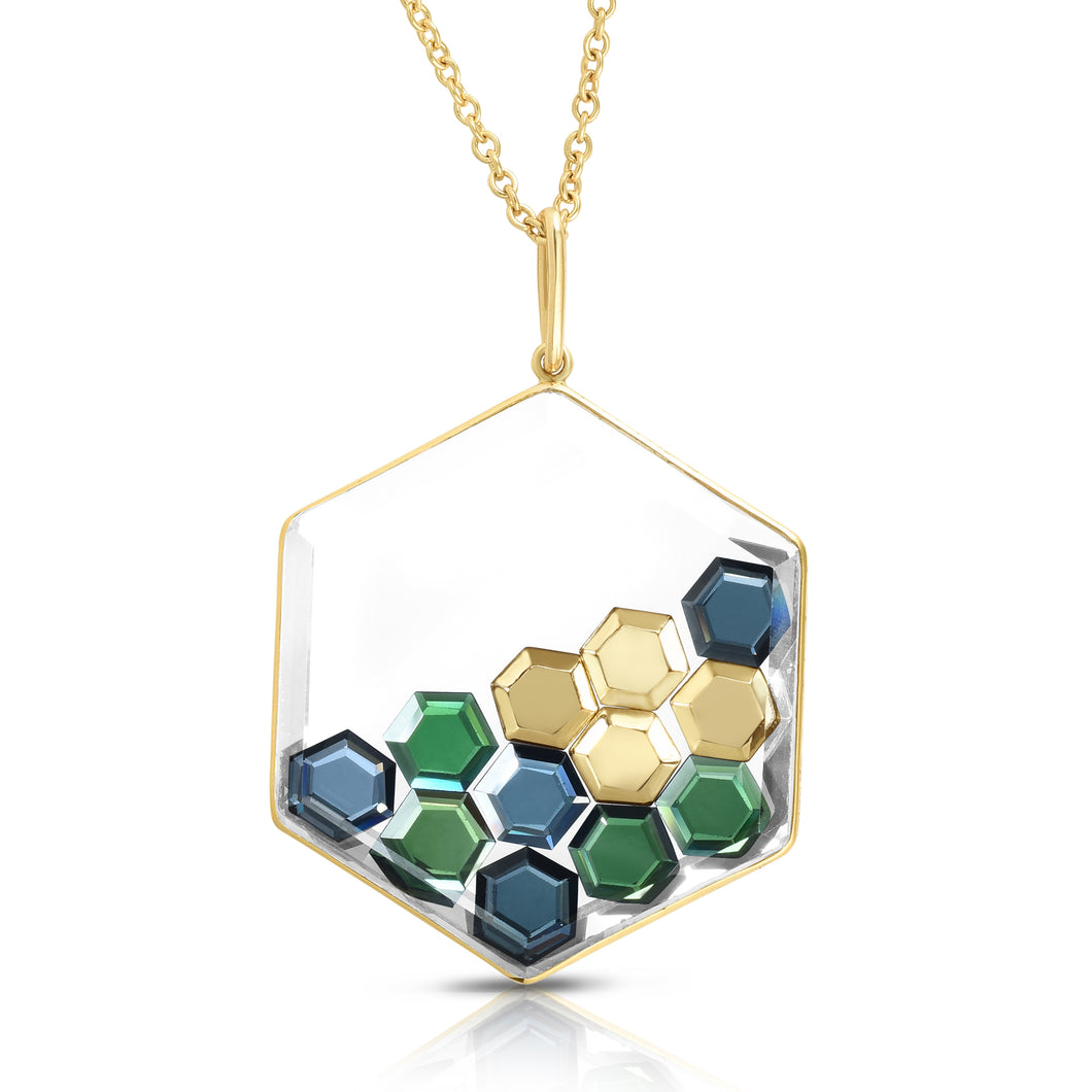 Hexagon Blue Sapphire and Chrome Tourmaline Shaker Pendant