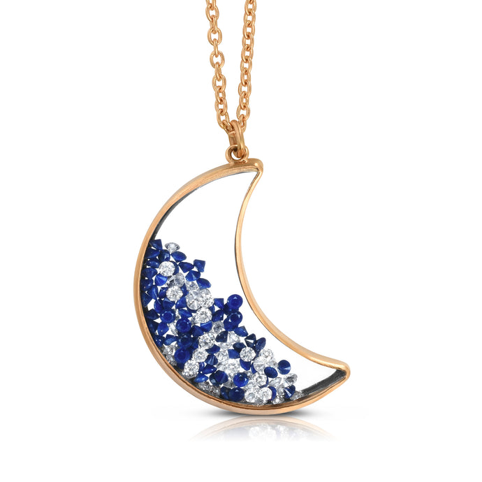 Mid Moon Lapis Lazuli and Diamond Shaker Pendant