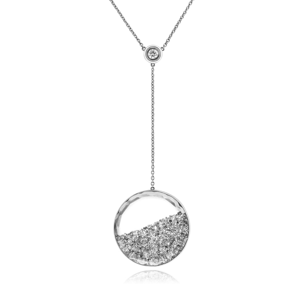 Gray Diamond Shaker Lariat Necklace