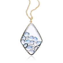 Load image into Gallery viewer, Large Kite Blue Sapphire and Diamond Shaker Pendant