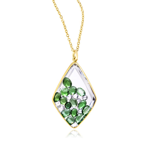 Large Kite Green Garnet Tourmaline and Diamond Shaker Pendant