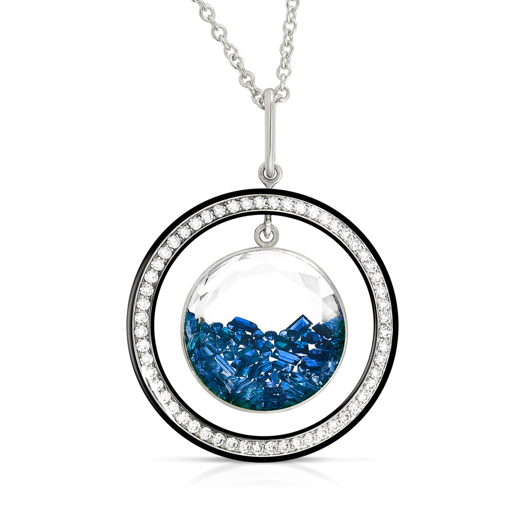 Diamond and Blue Sapphire Movable Shaker Pendant