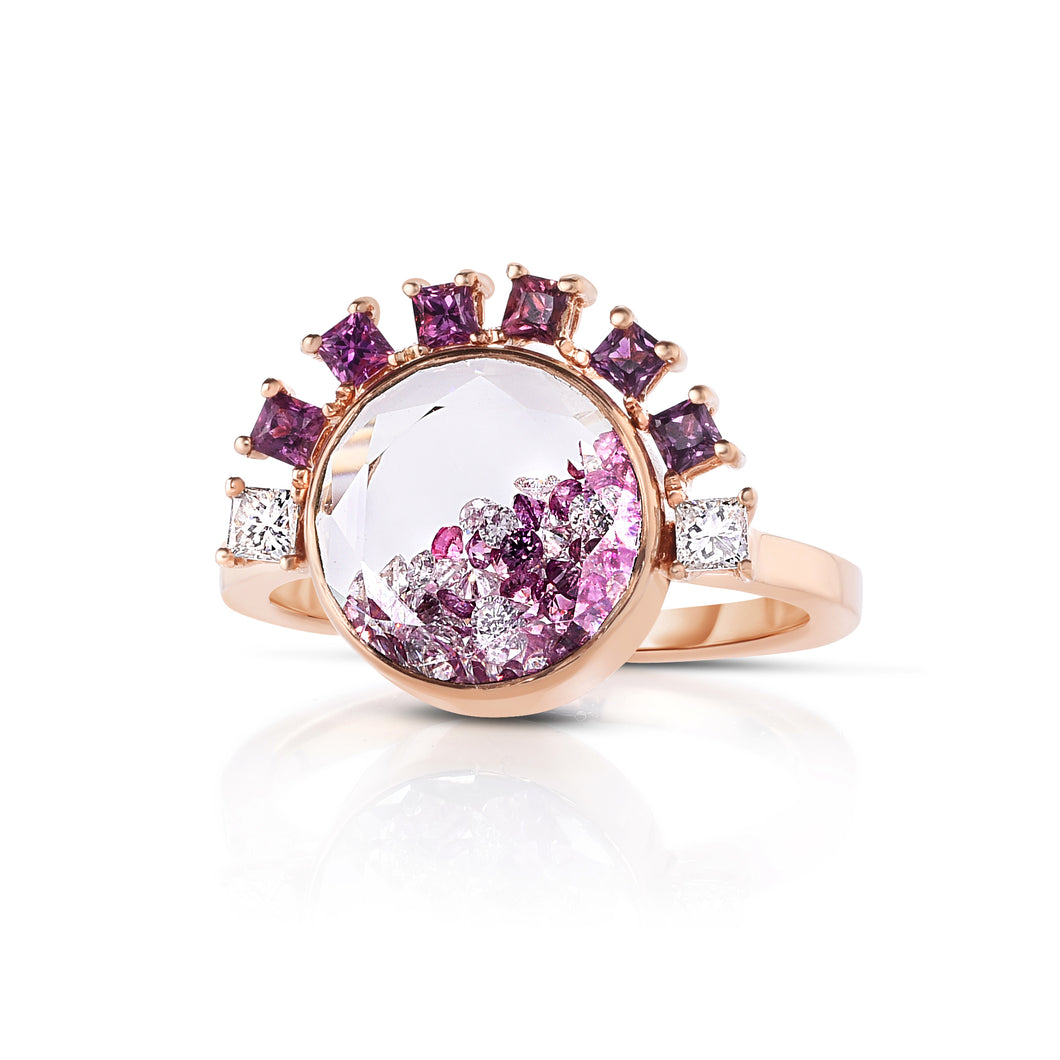 Pink Sapphire and Diamond Shaker Ring
