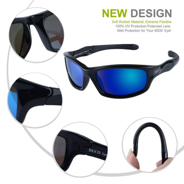 Duco Kids Sports Style Polarized Sunglasses Rubber Flexible Frame For Boys And Girls K006
