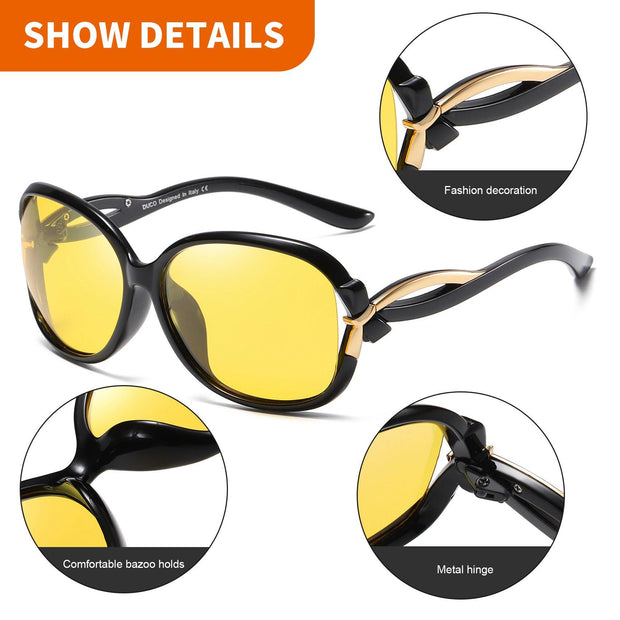 Duco Night Driving Glasses Anti-glare Eyewear Polarized HD Night Driving Vision Glasses For Women 2229