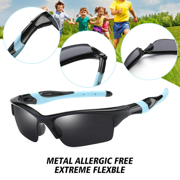 DUCO Polarized Kids Sunglasses UV400 for Boys Girls Baseball Sport K014