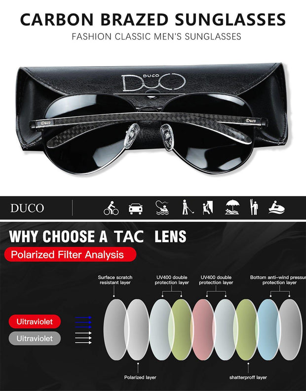 DUCO Premium Pilot Style Carbon Fiber Driving Polarized Sunglasses for Men 100% UV 400 Protection 3025S