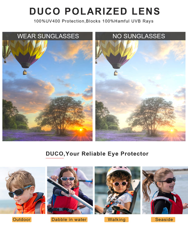 DUCO TPEE Superlight Kids Sport Polarized Sunglasses For Kids Boys Girls Rubber Flexible Frame Sunglasses