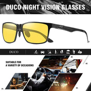 DUCO Carbon Fiber Temple Night-Vision Anti-Glare Driving Glasses 8206