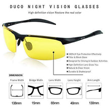 Load image into Gallery viewer, Duco Night-vision Glasses Polarized Night Driving Men's Shooting Glasses 8177
