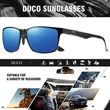Load image into Gallery viewer, DUCO Mens Classic Rectangular Polarized Metal Frame Sunglasses with Carbon Fiber Temples 8206