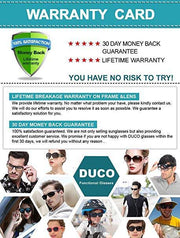 Duco men's Polarized Driving sunglasses Classic Style Fashion Rimmed Glasses UV400 protection 8205