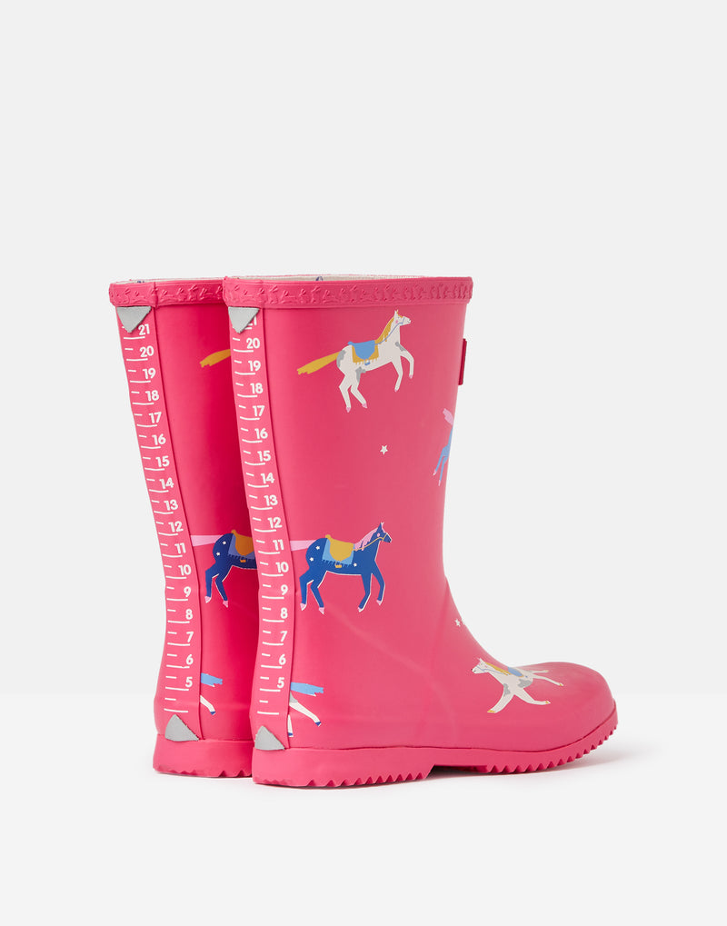 PINK HORSES ROLL UP RAIN BOOTS